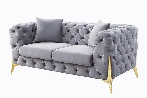 All JELANEA 56116 Tufted Grey Velvet & Gold Legs Loveseat