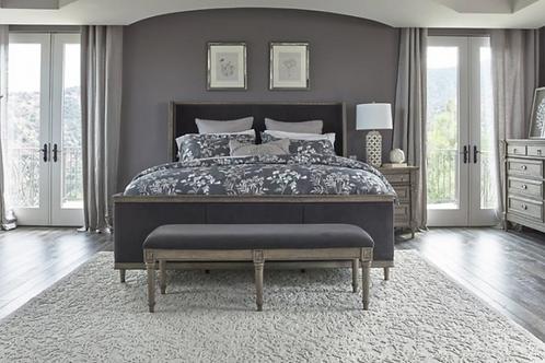 Cali Alderwood Transitional French Grey Bed
