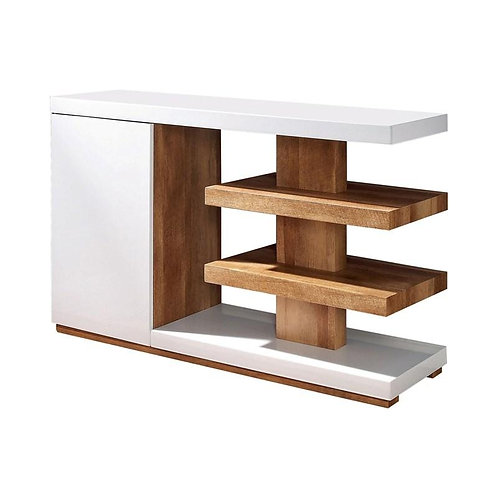 Moa Imprad Contemporary White Gloss/Natural Tone Sofa Table