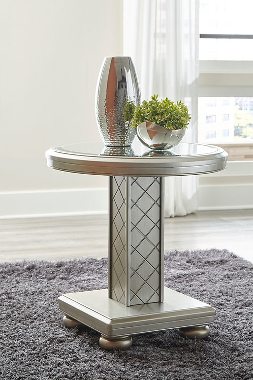 Angel Chevanna Contemporary Platinum Mirrored Round End Table