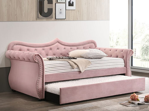 Adkins All Pink Velvet-Nailheads Daybed w/Trundle