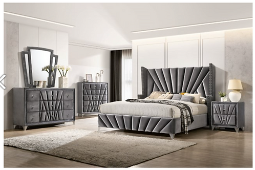 CARISSA Imprad Transitional Gray Velvet Winged Back Bed Frame