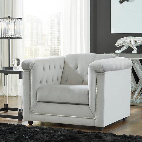 Angel Josanna Contemporary Gray Velvet Tufted Chair