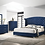 Thumbnail: Cali Melody Contemporary Pacific Blue Matte Velvet Tufted Bed Frame
