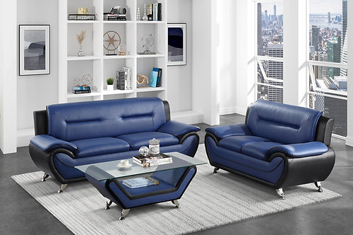 Henry Matteo Blue/Black Faux Leather Sofa