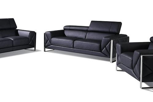 903 Geo Italian Leather Black Sofa