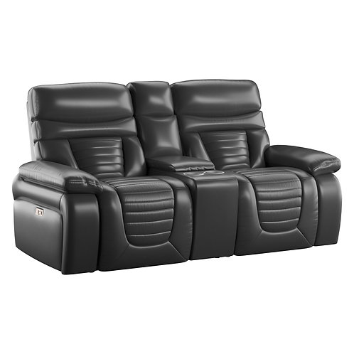 Emeral George Black Leather PWR Reclining Loveseat w/Adjustable Headrest-Console