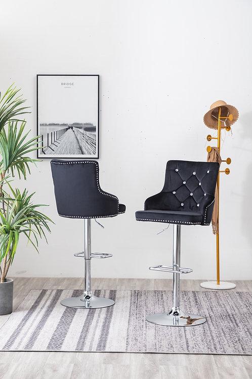 Best BS54 Black Velvet Adjustable Barstool