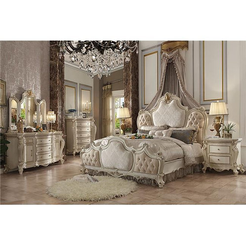 Picardy All Laxury Fabric & Antique Pearl Finish Bed