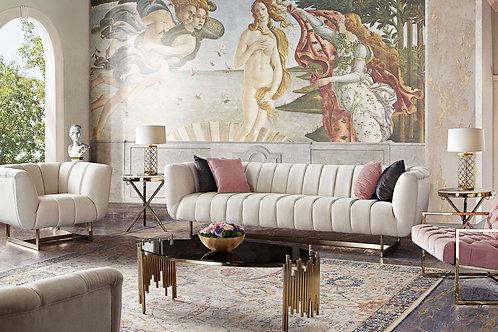 Dream Venus Cream Fabric / Brushed Gold Sofa