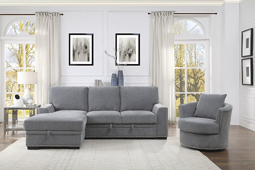 Henry Morelia Grey Sectional w/ Pull-out Bed and Left Chaise w/ Hidden Storage