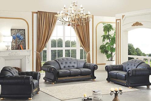 Apolo Black Classic Shiny Crocodile Embossed Leather Sofa