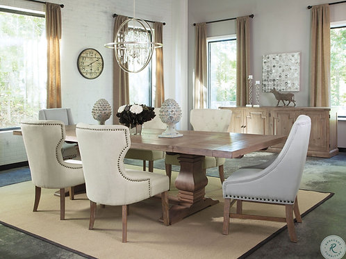 Florence Cali Double Pedestal Dining Table Rustic Smoke