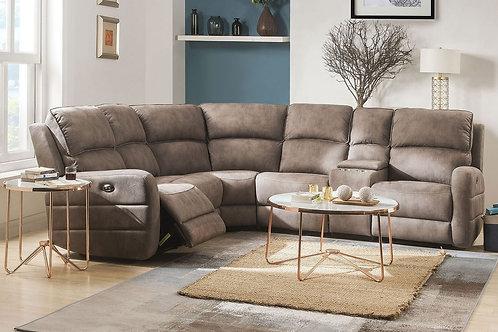 Olwen All Sectional Sofa (Power Motion & USB) Mocha Nubuck