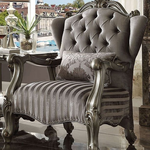 Versailles All Chair w/1 Pillow Velvet & Antique Platinum