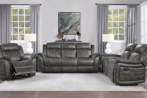 Centeroak Henry Brown-ish Gray Fabric Reclining Sofa