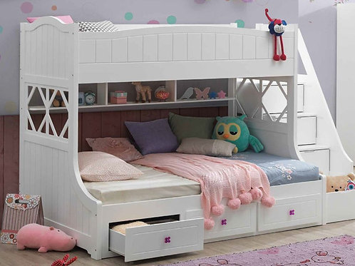 Meyer All White Twin/Full Bunk Bed w/Storage Ladder & Drawers