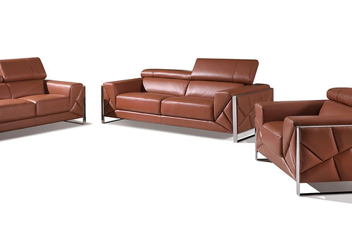 903 Geo Italian Leather Camel Sofa