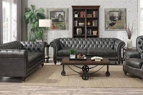 Capone Emer PU Chesterfield Charcoal Sofa