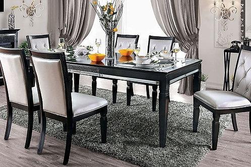 ALENA Imprad Transitional Black Mirrored Glam Dining Table