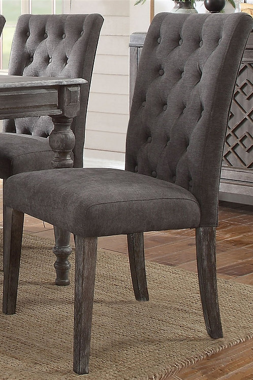 Godeleine All Gray Oak Finish Gray Velvet Side Chair
