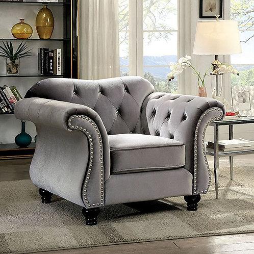 JOLANDA Imprad Gray Traditional Chair
