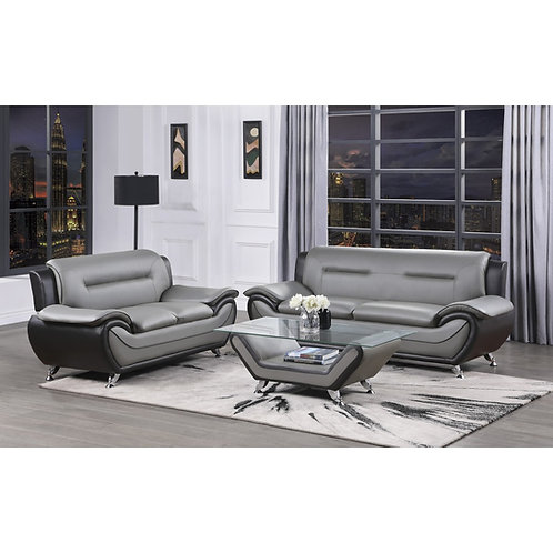 Matteo Henry gray/black faux leather Sofa