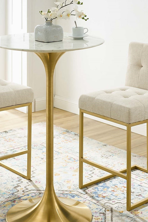"""Lippa 28"""" Mod Artificial Marble Bar Table in Gold White"""