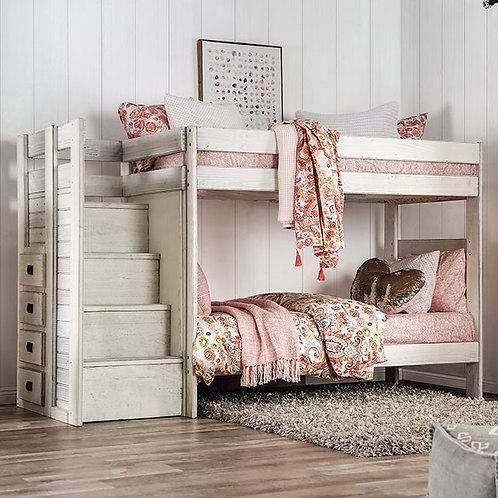 AMPELIOS Imprad Twin/Twin Bunk Bed Rustic White