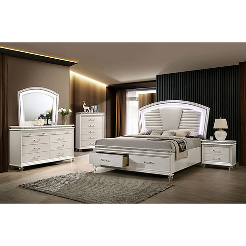 MADDIE Imprad Transitional White Bed w/Lights