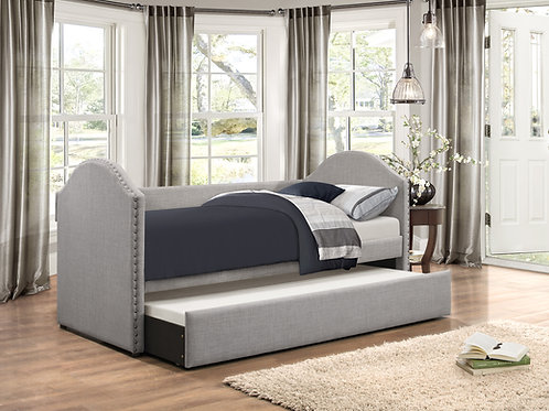 Comfry Henry Gray Fabric Daybed w/ Trundle