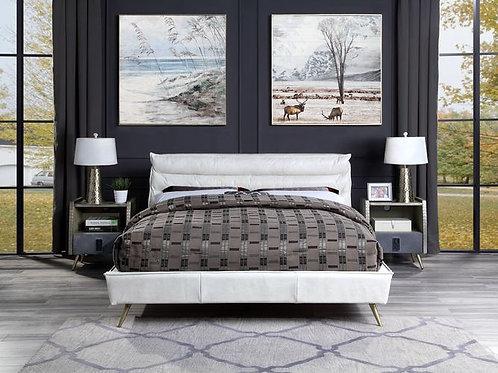 Doris All Vintage White Top Grain Leather Bed