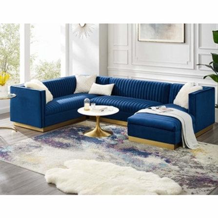 Sanguine 3 Piece Mod Velvet Sectional Sofa Set in Navy