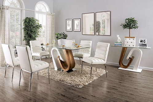 CILEGON Imprad Glass/White-Natural Tone Base Dining Table
