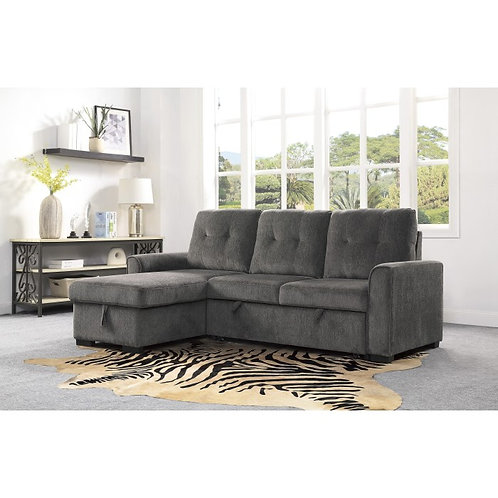 Carolina Henry 2-Piece Reversible Sectional with Storage Grey