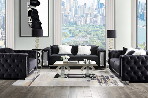 All TRISLAR Tufted Button & Mirror Trim Black Velvet Sofa