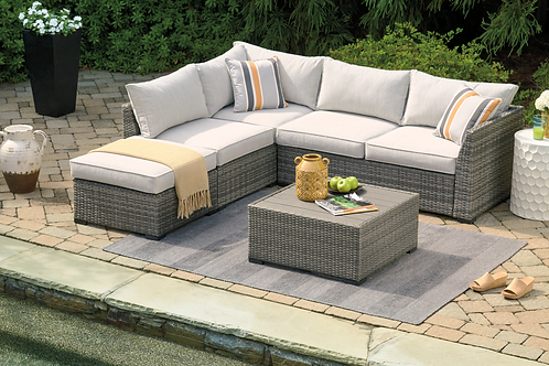 Cherry Point Angel Contemporary Gray Sectional w/Ottoman