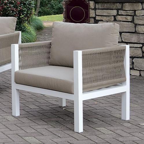 SASHA Imprad Contemporary White, Light Taupe Arm Chair