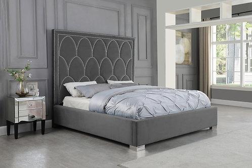 Best B65 Gray Velvet Bed Frame w/Nailhead Trim