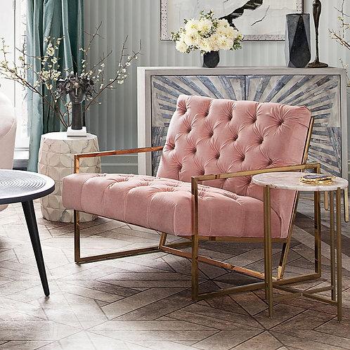 Luxe Tufted Blush Velvet Dream Chair