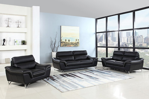 168 Geo Modern Leather Black Sofa