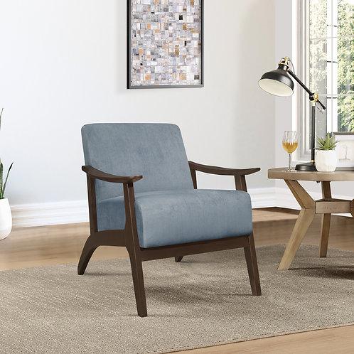 Carlson Henry Mid Century Blue Gray Velvet Chair