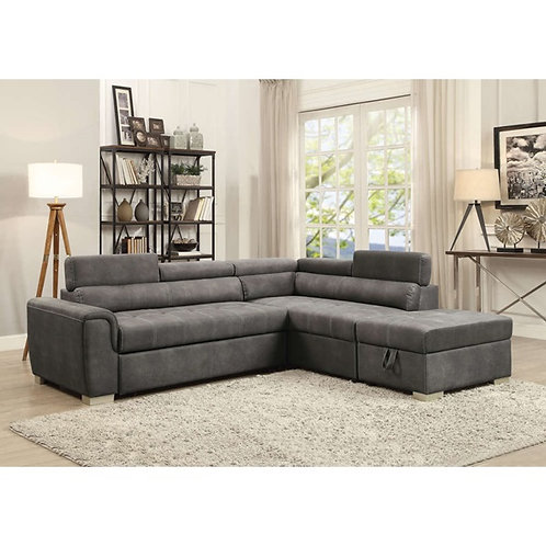 Telma All Gray Sectional W/ pull-out Bed
