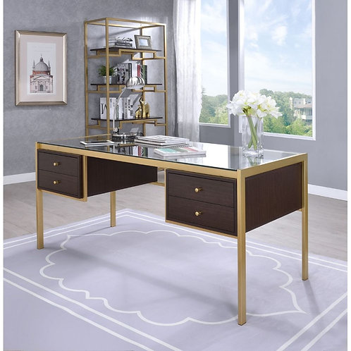 All Yumia Gold & Clear Glass Metal Desk w/Drawers