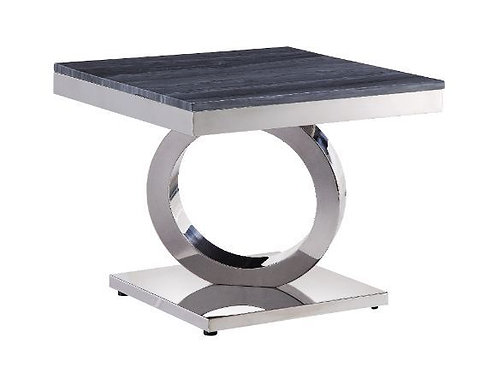 All Modern Marble Zasir End Table w/Stainless Base