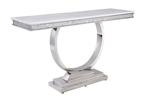 All 87363 Zander Marble Top Stainless Steel Base Sofa Table