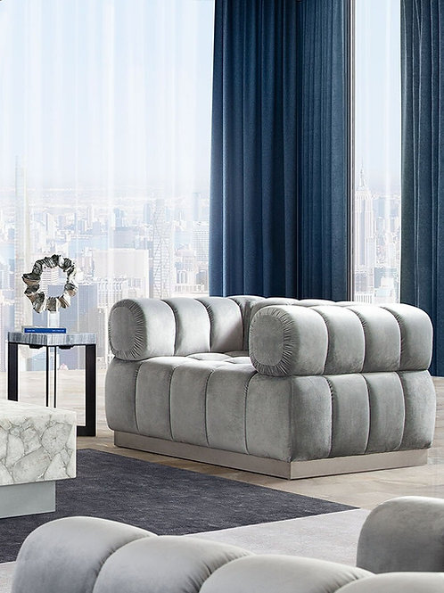 Dream Imagine Platinum Gray Velvet / Brushed Silver Chair