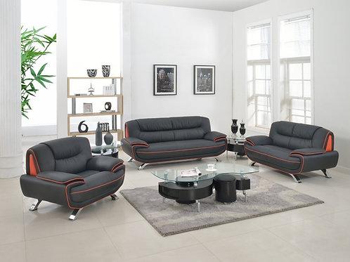 405 Geo Modern Black/Red Leather Sofa