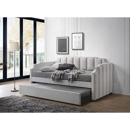 Peridot All Dove Gray Velvet Day Bed with Trundle