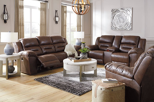Angel Stoneland Chocolate Microfiber Reclining Power Sofa